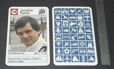 Carte Coureur Automobile 1984 Formule 1 Grand Prix F1 Jonathan Palmer Gb Ram