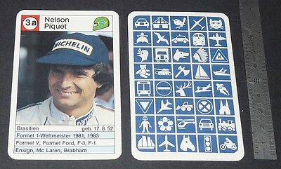 Carte Coureur Automobile 1984 Formule 1 Grand Prix F1 Nelson Piquet Brabham