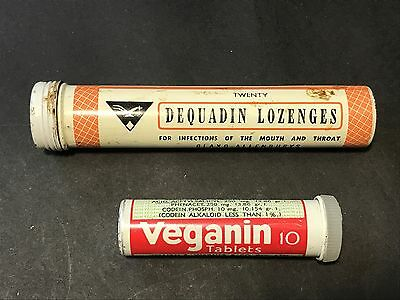 Vintage Medical Tins Tube DEQUADIN LOZENGES Glaxo-Allenburys VEGANIN TABLETS
