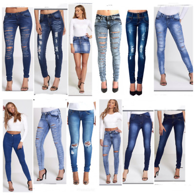 WOMEN LADIES STRETCH RIPPED HIGH WASTED SLIM FIT SKINNY DENIM JEANS SIZE UK lot
