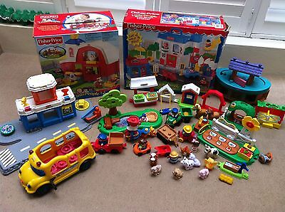 Bulk lot Fisher Price Little People Sounds Farm, Main Street, Airport & more