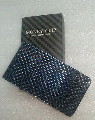 carbon fiber money clip - 100% carbon fibre black/blue Gloss - straight weave