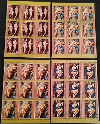 Equatorial Guinea 1972 Nude Painters x 4 Cto Used Blocks Of 9 #V5659