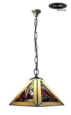 """14"""" Square Geometric Beige Stained Glass Tiffany Pendant Lamp"""