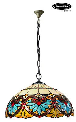 "Huge 18"" Boheme Accent Style Stained Glass Tiffany Pendant Lamp"