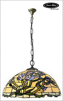 "Huge 18"" Wisteria Style Stained Glass Tiffany Pendant Lamp"