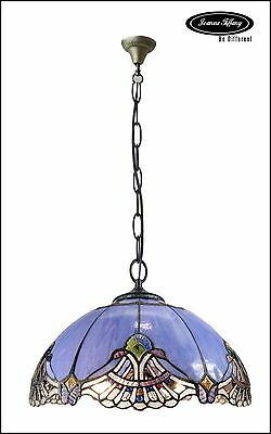 """Larg 16"""" Baroque Accent Style Stained Glass Tiffany Pendant Lamp"""