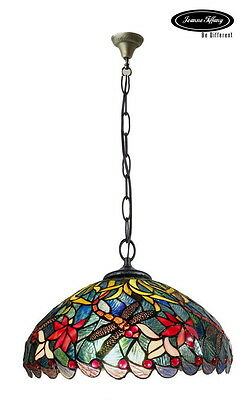 """Larg 16"""" Classical Dragonfly Style Stained Glass Tiffany Pendant Lamp"""