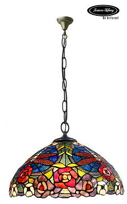 "Larg 16"" Dragonfly Style Stained Glass Tiffany Pendant Lamp"