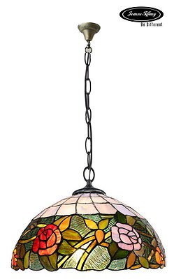 "Larg 16"" Rose Accent Style Stained Glass Tiffany Pendant Lamp"
