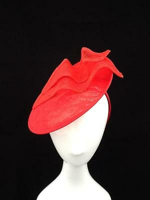 Red Sinamay Fascinator Lace Detailing On Headband : Fred04