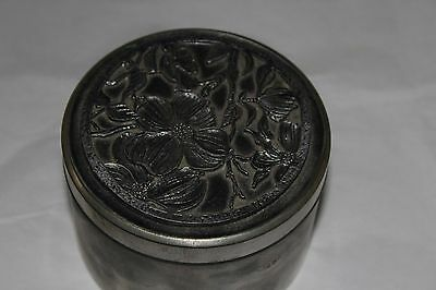 Unique White Metal Trinket / Spice Box With Floral Design top heavy