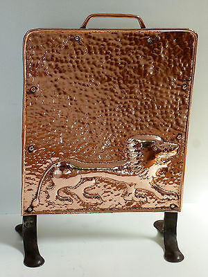 Rare Newlyn copper John Pearson Lion Fire-screen