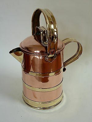 19thc  Scottish copper coffee & Brass milk water pot by William Soutter
