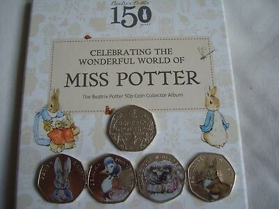 2016/17 Beatrix Potter 50p Coin Collection, Albums,All Coins Jemima Peter Fisher