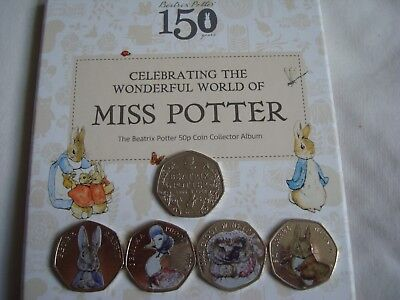 2016 Beatrix Potter 50p Coin Collection, Album & All 5 Coins Jemima Peter Fisher