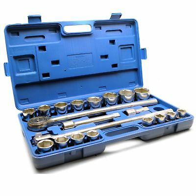 "3/4"" Socket Set Metric Sizes 21pcs 19mm to 50mm Extension Ratchet 12 Sided TE1"