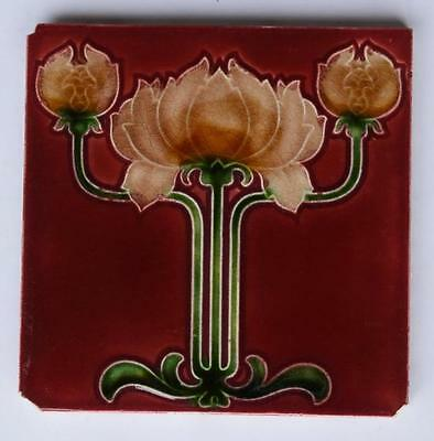 Antique Art Nouveau Tile By T & R Boote, c1905