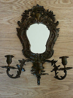 Quality 19th century Victorian brass mirror 3 branch wall sconce candlesticks