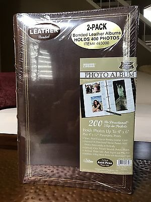 2 Pioneer Brown Leather Bonded 3 Ring Photo Albums 400 Photos 4 X 6