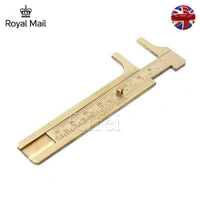 Mini Copper Measurement Tool Vernier Calipers Inch & cm Pocket Ruler Gauge UK