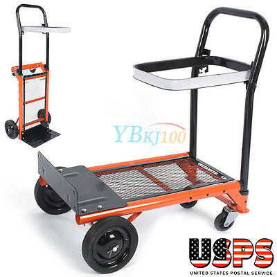 Heavy Duty Moving Dolly 4 Wheels Push Hand Truck Collapsible Trolley Warehouse