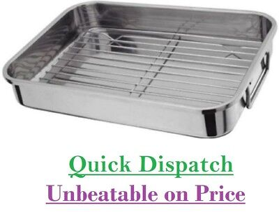 STAINLESS STEEL ROASTING TRAY OVEN PAN DISH BAKING ROASTER TIN GRILL RACK Small
