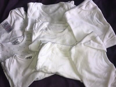8 White New/used Short Sleeve Baby Bodysuits 9-12 Months Excellent