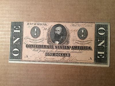 T71 1864 $1 Confederate Note - AU - About Uncirculated