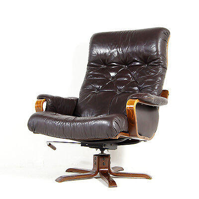 Retro Vintage Danish Leather Rosewood Swivel Base Lounge Armchair Chair 70s 60s