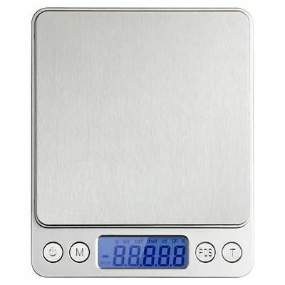 Digital Table Top Scale Professional Tare Calibration 500G/0.01G Large Stainless