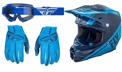 Fly Racing F2 Carbon Rewire Helmet Lite Gloves Turret Goggles Motocross Blue