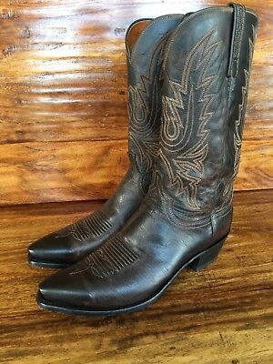 Men's Lucchese 1883 Western Cowboy Boots Brown Leather 10.5 EE Wide