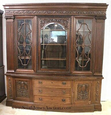 ANTIQUE Oak Executive 2 Piece Bookcase in the Oak with Hand Carved Ow... Lot 110