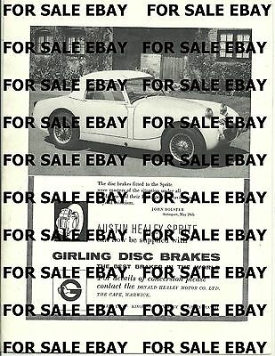Girling Brakes Ad Featuring the Austin Healey Bugeye Sprite  Sept 1959