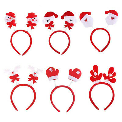 Adult Kids Christmas Xmas Novelty Headband Hat Costume Hair Clip Reindeer Santa