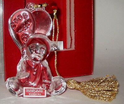 2008 Waterford Teddy Bear Christmas Ornament NIB +Insert,Tassel,Jewel,Balloons
