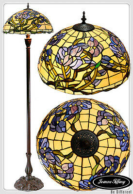 "Large 18"" Wisteria Style Stained Glass Tiffany Floor Lamp"