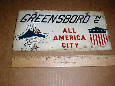 Greensboro NC Guilford County original License Plate tag 1960s All American City