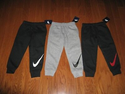 NIKE BOYS BLACK ATHLETIC JOGGERS WITH WHITE or RED SWOOSH SIZE 2T/3T/4T/6/7 NWT