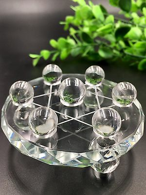 Natural clear clean Quartz Crystal Reiki Ball With Plate Seven Star Array*4356