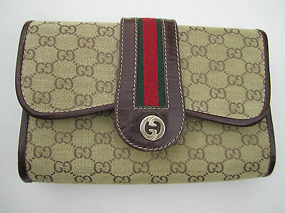 Vintage 1979 Authentic Gucci Logo Clutch Purse Brown Material Leather Green Red