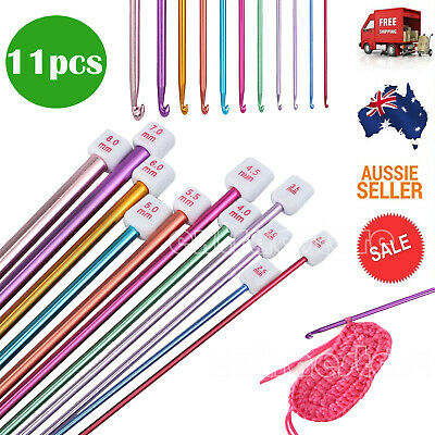 "11pcs 10.6"" Aluminum TUNISIAN AFGHAN Crochet Hook Knit Needles Set 2-8mm AU"