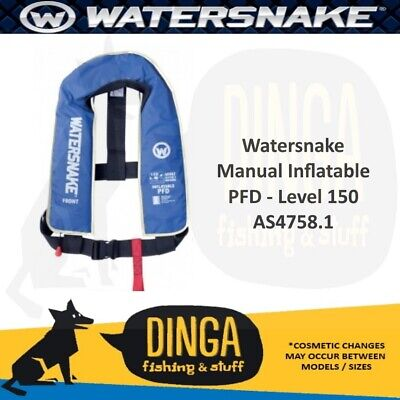 Watersnake Blue Inflatable PFD Life Jacket Adult Level 150 Manual