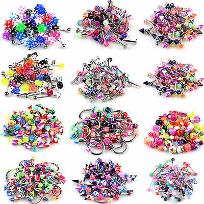 Newest 10pcs Bulk Lots Body Piercing Eyebrow Jewelry Lip Belly Tongue Bar Ring
