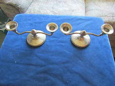 PAIR 2 Sterling Silver MFH Double Candlestick Holder Weighted