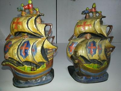 Vintage Brass Ship Bookends.