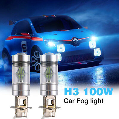 UK 1 Pair H3 100W LED 8000K Iceberg Blue Projector Fog Driving Light Bulbs