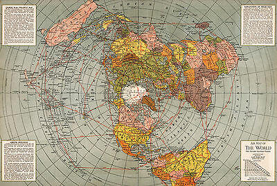 1943 Flat Earth World Map Polar Azimuthal Equidistant Projection Poster Model