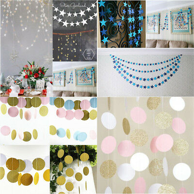 Glitter Bunting Banner Garland Paper Twinkle Star Circle Celebration Party Decor